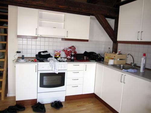 Et rodet køkken
