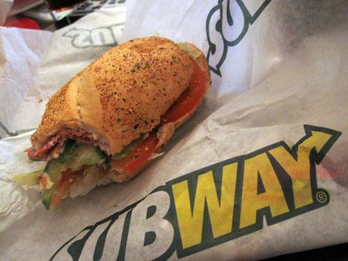 Aftensmad fra Subway...