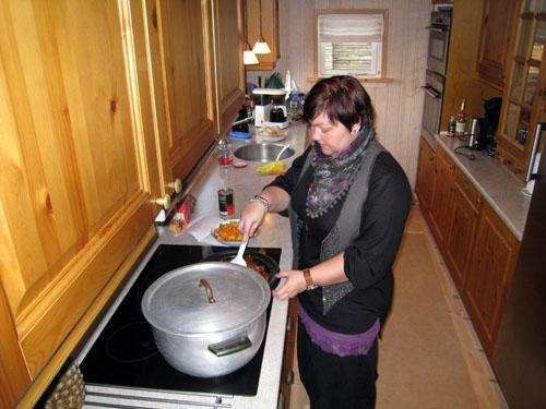 Konen i køkkenet...