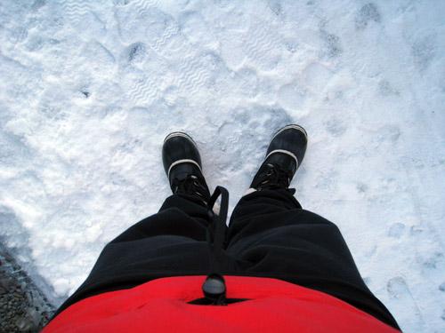 På vej ud i kulden...