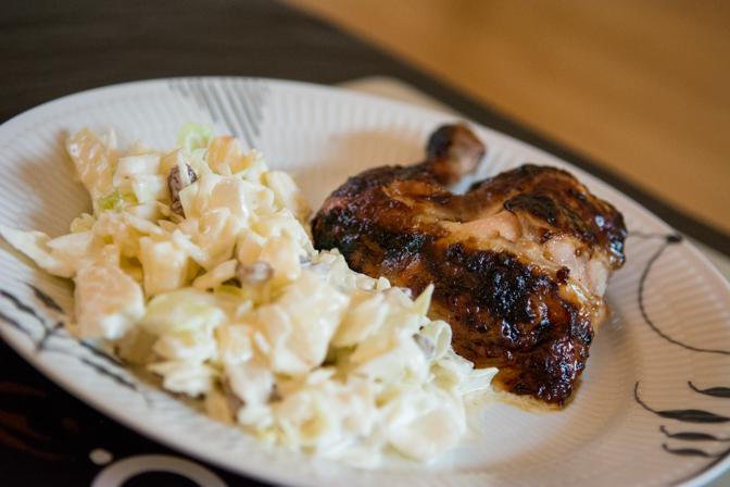 Granatæblemarineret kylling på rotisserie...